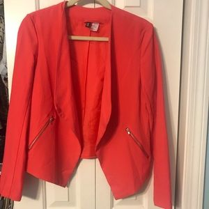 Coral open front blazer